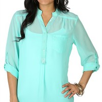 Three-Quarter Sleeve Equipment Top with Sequin Mandarin Collar