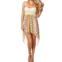 IvoryBlue Multi-Color Hi Low Dress
