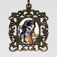 Krampus Rectangle Pendant Necklace