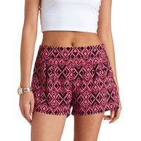 STACKED HIGH-WAISTED IKAT PRINT SHORTS