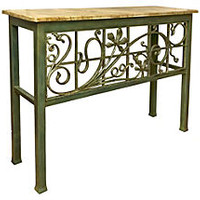 Painted Wrought Iron Console Table