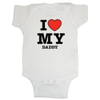 So Relative! - I Love (Red Heart) My Daddy - Baby Infant Short Sleeve Bodysuit Creeper (Assorted Colors  Sizes)