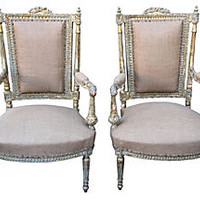 French Painted Armchairs, Pair