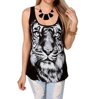 Black Tiger Face Tank Top