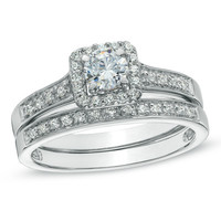 1/2 CT. T.W. Diamond Square Frame Bridal Set in 10K White Gold - View All Rings - Zales