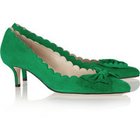 Oscar de la Renta Bow-embellished suede pumps – 50% at THE OUTNET.COM
