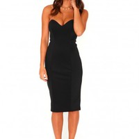 Missguided - Matilde Bandeau Bodycon Midi Dress In Black