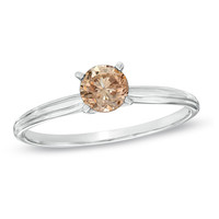 1/4 CT. Champagne Diamond Solitaire Engagement Ring in 14K White Gold - View All Rings - Zales