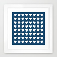 64 Hearts Navy Framed Art Print by Project M