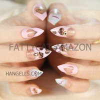 "FATTYCAT HIGH QUALITY FASHION JAPANESE OVAL 3D NAIL ART ""HONEY, KISS, LOVE"" 24 nails Sold By FATTYCAT"