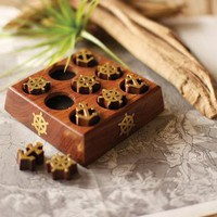 wooden nautical tic tac toe set