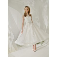 Taffeta Vintage Sleeveless A-line Tea Length Wedding Dress