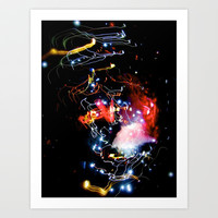 galaxy rave lights  Art Print by Sari Klein