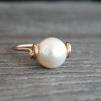 Pearl and Gold ring grade A freshwater pearl by GenuineArticle