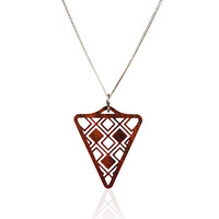 Triangle Necklace with Exotic Wood and Silver