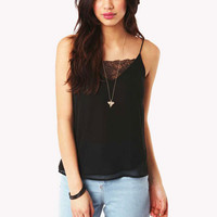 Margret Lace Detaill Cami Top in Black at Fashion Union