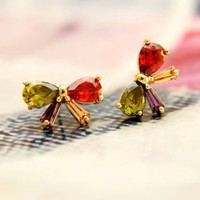 Colorful Bow Full Rhinestone Earrings