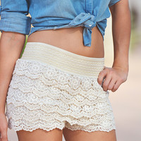 Sweet Escape Crochet Shorts - Ivory