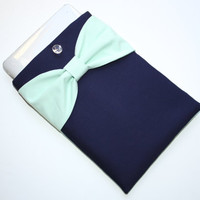 MacBook Pro or Air Case / Laptop Sleeve - Navy with Mint Bow and Back Pocket - Double Padded - Sized to Fit Any Brand Computer