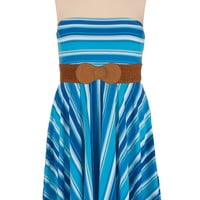 Multi stripe belted plus size tube dress