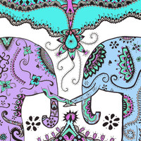 colorful elephants Art Print by kelsey flones