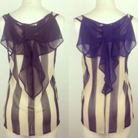 Bow Back Chiffon Stripes Top in Black or Navy Blue