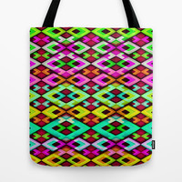 Multicolored Modern Abstract Pattern Tote Bag by Danflcreativo