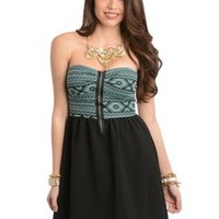 Jungle Me in Tribal Mint Strapless Skater Dress