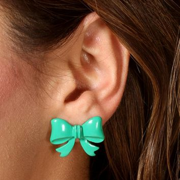 Green Bow Earrings