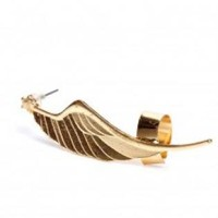 Gold Eagle Wing Earring with Cuff Detailing