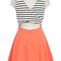 Be My Luck Neon Coral Skater Dress