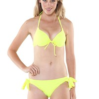 Yellow Neon Halter Bikini with Underwire Support and Adjusta
