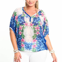 PLUS SIZE TROPICAL MIRROR CHIFFON BLOUSE