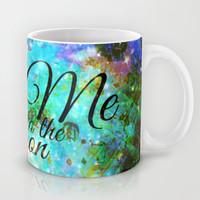FLY ME TO THE MOON, REVISITED - Colorful Abstract Painting Space Typography Blue Green Galaxy Nebula Mug by EbiEmporium
