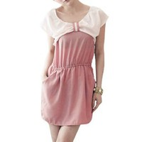 Allegra K Pink Scoop Neck Knot Front Cap Sleeve Patchwork Dress XS for Women