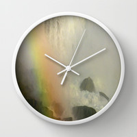Waterfall and Rainbow  Wall Clock by Sari Klein