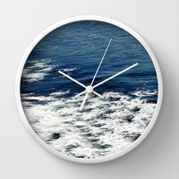 Mystic Blue Sea Wall Clock by Lisa Argyropoulos