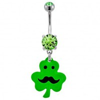 316L Surgical Steel Clover with Mustache Dangle Navel Ring with Green CZ - 14G, 3/8'' Length - Sold as a Single Item