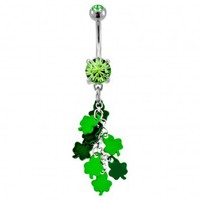316L Surgical Steel Multiple Shamrock Dangle Navel Ring with Green CZ - 14G, 3/8'' Length - Sold as a Single Item