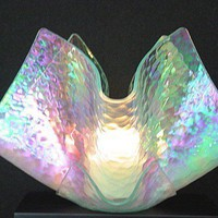 Large Slumped Fused Candle Holder - Cloudy Iridescent | giftsEclectic - Art on ArtFire