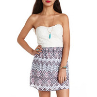 AZTEC LACE & PRINTED STRAPLESS DRESS