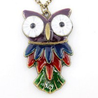 Cute owl necklace gift bronze color 874 | funnygirl5588 - Jewelry on ArtFire