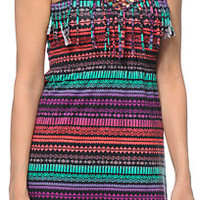 Empyre Susie Multicolor Tribal Print Fringe Strapless Dress