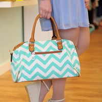 Mint Chevron Barrel Purse