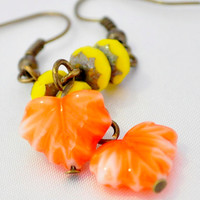 Autum leaf earring czech glass orange leaves with yellow accent beads