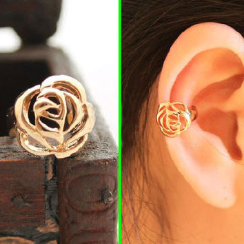 Golden Charming Rose Ear Cuff (Single,No Piercing)