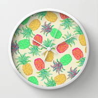 Pineapple Pandemonium (multi) Wall Clock by Lisa Argyropoulos
