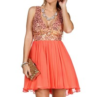 Janine- Gold/Coral Sequin Short Dress