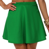 Kelly Green Basic Skater Skirt