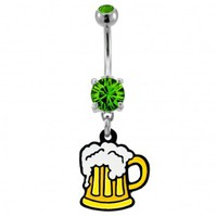 316L Surgical Steel Beer Mug Dangle Navel Ring with Green CZ - 14G, 3/8'' Length - Sold as a Single Item